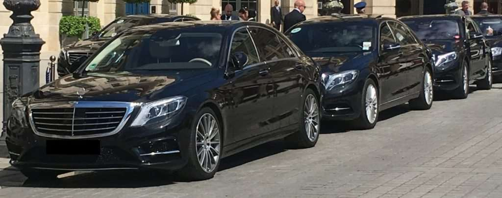 3 Mercedes S class limousines in front of the Festivals palace in Cannes , France